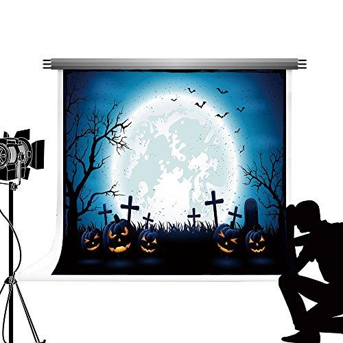 Kate Fotografie Hintergrund Halloween Kürbis Laterne Hintergrund Blue Moon Nacht Requisiten für Studio Fotoshooting 10x6.5ft / 3x2m