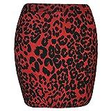 LAVISHCO Damen Rock Gr. 48, Rotes Leopardenmuster