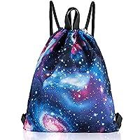 ManKn Unisex Drawstring Backpack Gymsack Gym Bag Rucksack for Adults and Children, Sports Bag Kids School PE Bag Boys Girls Sack for Hiking Running Football Travel (C - Starry Sky)