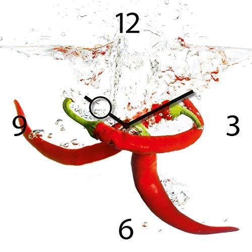 Eurographics Wanduhr aus Glas für die Küche, Splashing Chili Pepper, Pepperoni im Wasser, 30x30 cm (Peppers-designer Chili)