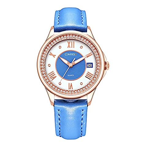 Comtex Frauen Quarz Rose Gold Uhren mit blauen Lederband Kalender Display Mode
