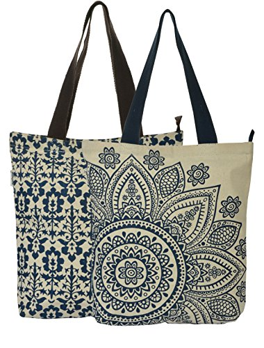 Large Blue Flower and Small Blue print on accrue combo tote  available at amazon for Rs.264
