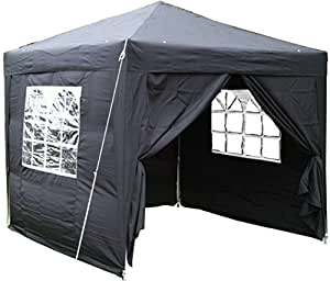 Airwave 2.5x2.5mtr Pop Up Waterproof Gazebo in Black with 2 WindBars and 4 Leg Weight Bags