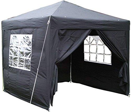 Airwave Pop-Up-Pavillon, 2,5 x 2,5 m, schwarz, wasserfester GartenPavillon, 2 Windstangen und 4 Gewichte für die Beine