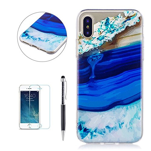 Cover Custodia per iPhone X, Hancda TPU Ultra Sottile Copertura Bumper Custodia in Silicone Antiurto Resistente Colorate Gomma Gel Case Antishock Morbida Cassa Cover per iPhone X con Pellicola Protett Marmo 3