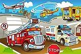 Feuerwehr Krankenwagen Cartoon XXL Wandbild Kunstdruck Foto Poster P0745 Größe 90 cm x 60 cm, Größe 90 cm x 60 cm