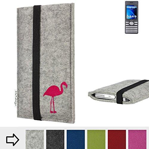 flat.design Handy Hülle Coimbra für Kazam Life B6 Made in Germany Handytasche Filz Tasche Case fair Flamingo pink