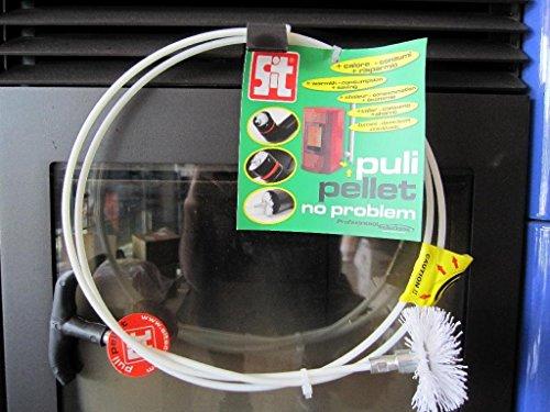 Kit Puli Pellet bestehend aus 1Stange Flexibel Rund aus Fiberglas mit 2mt, 1Griff aus Kunststoff, Bürste Ø mm 80. Geeignet für die Reinigung des Abgase der Pelletöfen.
