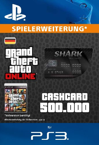 Grand Theft Auto Online | GTA V Blue Shark Cash Card | 500,000 GTA-Dollars | PS3 Download Code - deutsches Konto (5 Ps4 Gta Code)