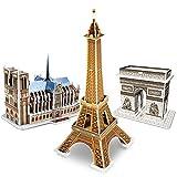 CubicFun Puzzles 3D France Kit di Costruzione di Modelli architettonici per Bambini e Adulti Set di Puzzle 3 in 1, Notre Dame de Paris, Torre Eiffel e Arc de Triomphe