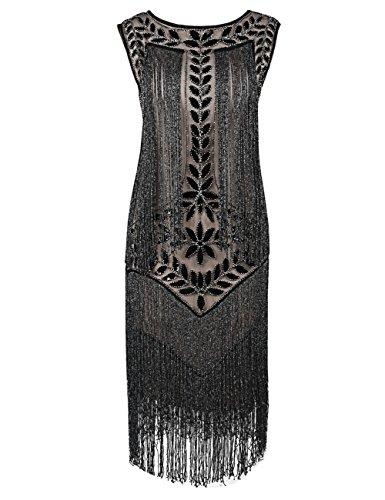 kayamiya Damen Great Gatsby Kleid 1920er Paillette Quaste Charleston Kleider L Schwarz Beige ()