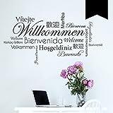 WANDKINGS Wandtattoo - Willkommen in verschiedenen Sprachen - 120 x 68 cm - Schwarz - Wähle aus 5 Größen & 35 Farben