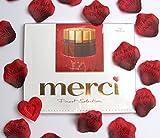 Ich liebe Dich Rosenblätter + Merci Schokolade Geschenk-Set Valentinstag Danke