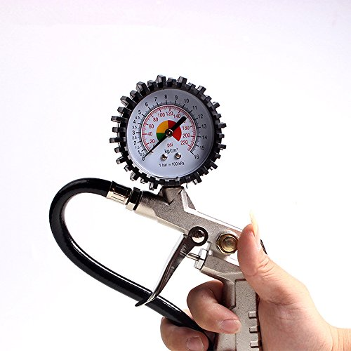 Singeru Manometro Max Test 220psi/16 Bar Tire Air Tester Strumento per Pneumatici Auto Bicicletta Moto 0,1 Bar