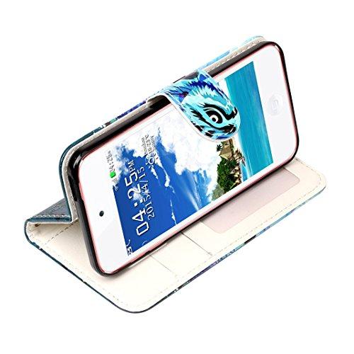 iPod Touch 6 Hülle, iPod Touch 5 Case, Rosa Schleife iPhone Handyhülle PU Ledertasche Flip Wallet Cover Bookstyle Case Standfunktion Magnetverschluss Schutzhülle TPU Silikon Bumper Schale für iPod Tou A - Blau und Lila