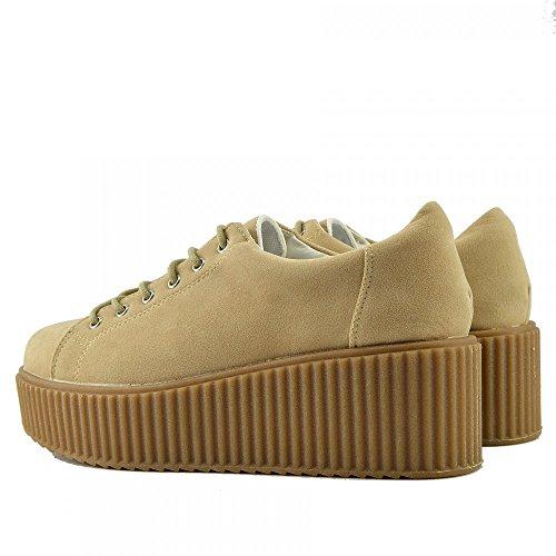 Kick Footwear Femmes Semelle Compensée Épaisse À Lacets Semelle Caoutchouc Chaussures De Skate Chaussures Nude - Dino