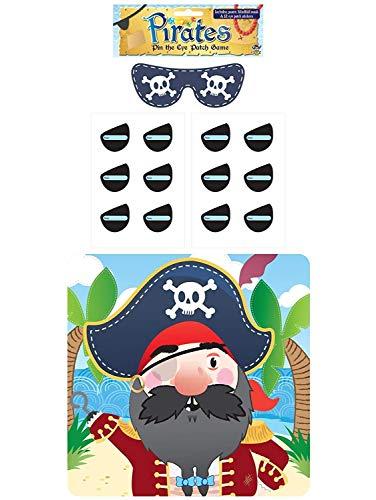 Stick Die Eye Patch auf der Piraten Spiel-Party Kinder Pin Schwanz Aktivität 2-Pack multi (Spiele Pin Schwanz Der)