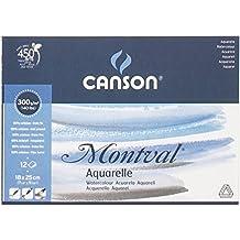 Canson Montval - Bloc papel de acuarela, 18  x  25  cm, color blanco natural