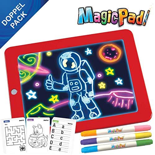 Mediashop Magic Pad 2X Zaubertafel | je Zeichenbrett 3 Farbstifte mit 6 Neonfarben & 30 Schablonen zum Ausmalen, Zeichnen, Schreiben und Rechnen | Schreibplatte | Maltafel | Das Original aus dem TV