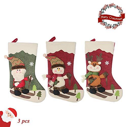 Weihnachtsstrumpf Weihnachten Dekoration 3 pcs, Morbuy Weihnachten Hängendes Geschenktasche Elk Weihnachtsmann Schneemann Element Deko für Weihnachten Tree Hochzeit Party (Skifahren)
