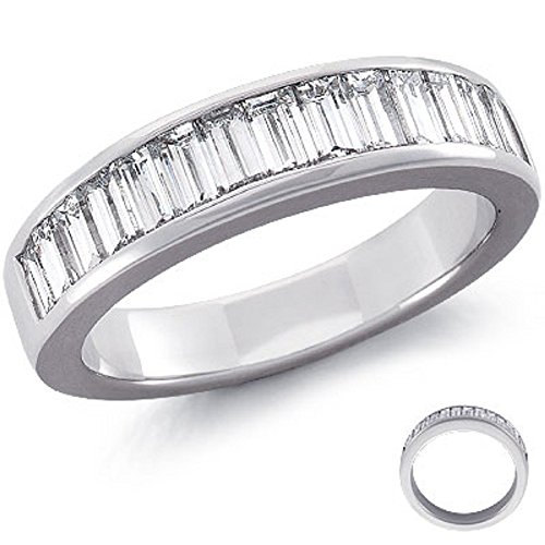 Baguette 1,00 ct Half Eternity con diamanti incastonati a canale, in platino, Platino, 12, cod. (Diamante Dei Canali Band Ring)