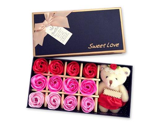 ktdream 12PCS Duft Rose Petal Bath Seife mit Little Bear in Geschenk Box für Valentinstag Muttertag Jahrestag Geburtstag Pink (Set Scented Rose Bath)