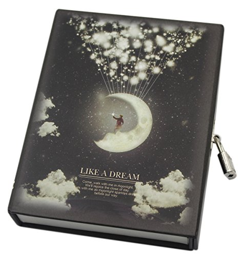Tagebuch Für Mädchen Passwort (cuddty 10,4x 14cm Moon Reise Tagebuch mit Schloss und Schlüssel A6Größe Tägliche Aufnahme Notebook Motivpapier Notizblock, 114Blatt Einheitsgröße Moon)