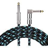 Asmuse Cable de instrumento bajo guitarra de ángulo recto profesional 3 m TS 1/4 pulgadas 6.3 mm tapones Brown Tweed Chaqueta 10 pies Silencioso para eléctrica Keyboard to Amps (Azul)