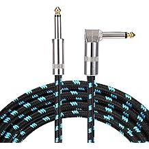 Asmuse Cable de instrumento bajo guitarra de ángulo recto profesional 3 m TS 1/4