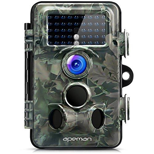 5mp-kamera Sicherheit (APEMAN Wildkamera 130 ° Weitwinkelobjektiv Jagdkamera 12MP 1080P HD Tierbeobachtung 42 IR LEDs 20 Meter Reichweite IP66 staub-wasserdicht)