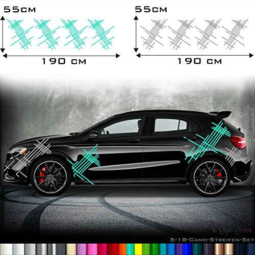 Auto Camouflage Aufkleber Set Streifen Kästen Cyber Pixel Autotattoo Car-Style Sticker Hexa Matrix Look Stance S18