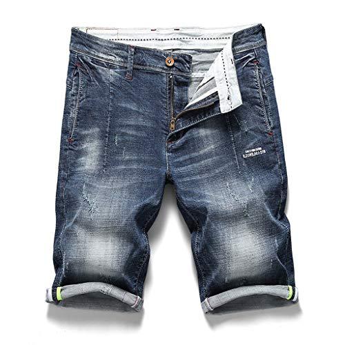 Gingham Denim Kurze (JKLEUTRW Herren Jeansshorts 2019 Neue Männer Stretch Kurze Jeans Mode Slim Fit Hohe Qualität Elastische Denim Shorts Männlichen Kleidung Strand Atmungsaktiv Arbeitsshorts)