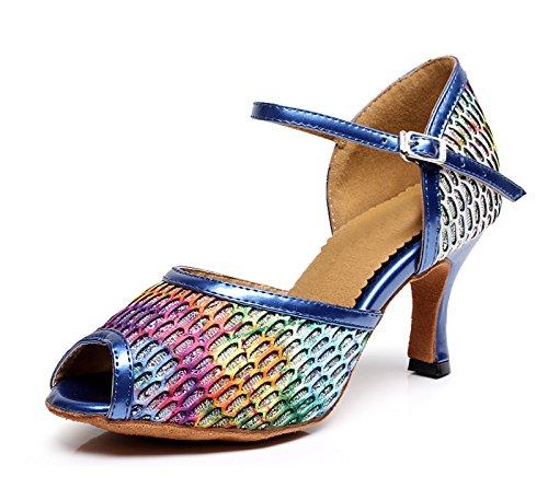 Miyoopark , Damen Tanzschuhe , Blau - Blue-7.5cm Heel - Größe: 37.5