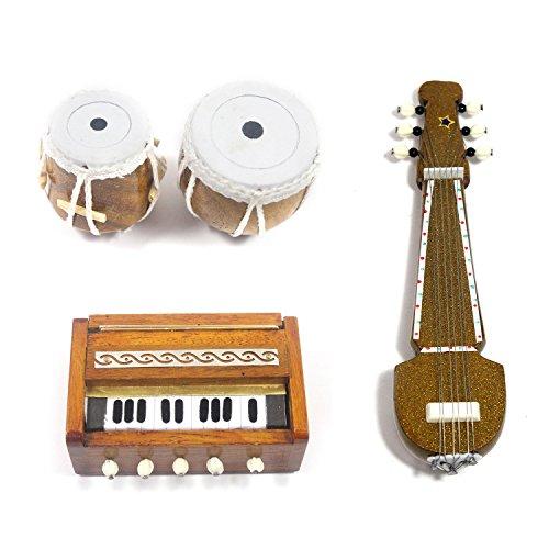 India Meets India Handmade Miniature Wooden Sarod, Tabla Set, Harmonium (3 Set Fridge Magnets) / Handmade Authentic Classical Indian Music Instrument  available at amazon for Rs.1249