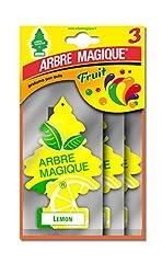 Idea Regalo - Arbre Magique Tris, Deodorante Auto, Fragranza Lemon, Profumazione Prolungata fino a 7 Settimane, Confezione Tripla