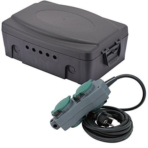 Electraline 300174Wetterfeste Box/Anschlusskasten für elektrische IP54mit Steckdosenleiste 4fach wasserdicht 5m