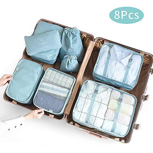 McNory Organizer Valigia Set di 8,Organizzatori da Viaggio Cubi di Imballaggio lavanderia sacchetto dei bagagli Compressione Sacchetti Bag per i vestiti,Cosmetici,scarpe,Intimo