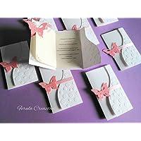 10 inviti comunione farfalla - partecipazioni farfalla