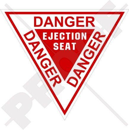 DANGER SIÈGE D'ÉJECTION USAF Martin Baker, 120mm Vinyl Sticker, Autocollant