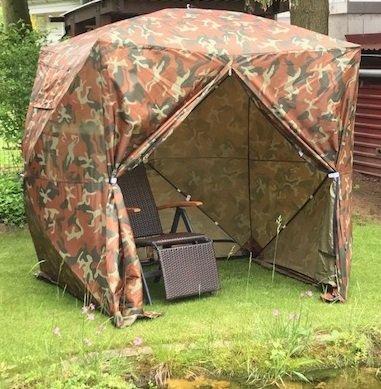 UHATEX Angelzelt, Karpfenzelt, Wetterschutzzelt ohne Boden, Z1, camouflage, in 30 Sekunden allein auf- und abgebaut