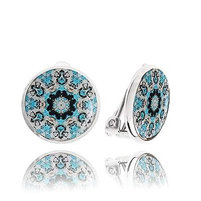 Jolies Boucle d'Oreilles Clips non Percées Forme Ronde de couleur Gris et Bleu; Cadeau Drôle Tous les Jours pour Femme; Diamètre 1.4cm