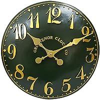 Para interiores y exteriores verde Garden pintada a mano reloj de pared de iglesia reloj 38 cm DS5112