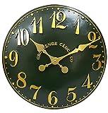 Outdoor Innen grün Garten Wanduhr handbemalt Kirche Uhr 30cm ds5089