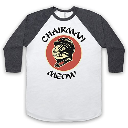 Chairman Meow Cat 3/4 Hulse Retro Baseball T-Shirt Weis & Dunkelgrau