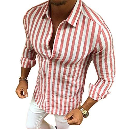 Camisa Rayas Hombre - Moda Manga Larga Collar Abatible