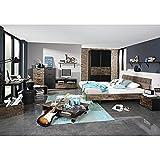 Jugendzimmer Svenja 3-teilig braun / schwarz Kinderzimmer Schwebetüren-Kleiderschrank Bett Nako Nachtkommode