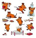 Unbekannt 12 tlg. Set Sticker / Aufkleber - die Sendung mit der Maus - Schultüte - Stifte Hefte Mäuse Käse lesen lernen