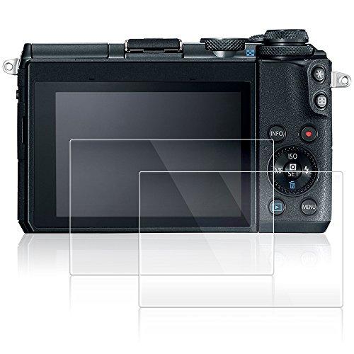 AFUNTA Displayschutzfolien für Canon EOS M6, 2 Pack Anti-Kratzer gehärtetes Glas Schutzfolien für DSLR Digitalkamera