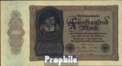 Deutsches Reich Rosenbg: 77 gebraucht (III) 1922 5.000 Mark (Banknoten für Sammler)