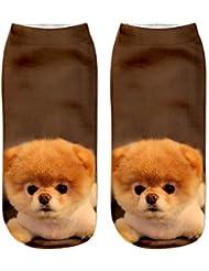 Moresave mujeres 3D Impreso calcetines de tobillo lindo patrón animal comodidad Casual Corte suave bajo calcetines